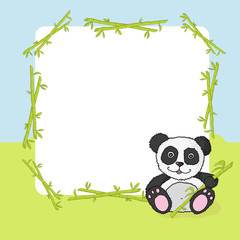 Cartoon panda with frame