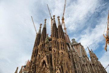 Sagrada Familia Church with Cranes on Rooftop