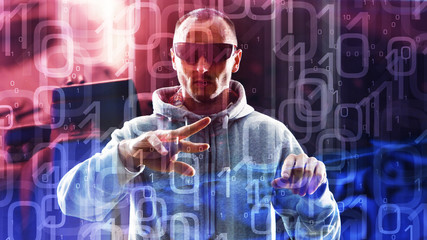 Computer hacker typing on hologram computer futuristic cyber attack