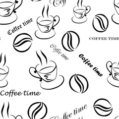 Seamless pattern with images of a cup of coffee, coffee beans and inscriptions ''Coffee time'', hand-drawn by black ink on a white background