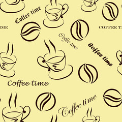 Seamless pattern with images of a cup of coffee, coffee beans and inscriptions ''Coffee time'' in brown  on a warm background