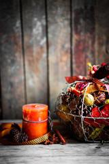 Autumn decoration on rustic background