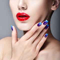 Beauty Woman Portrait. Professional Makeup. Red Lipstick. Beauti