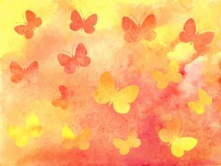 Beautiful abstract watercolor background with flying butterflies. Vector illustration in shades of sunrise.