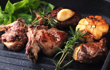 Roasted lamb ribs with spices