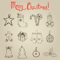 Set of hand drawn Christmas elements (icons)