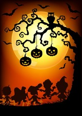 Halloween background with happy kids silhouette wearing Halloween costume