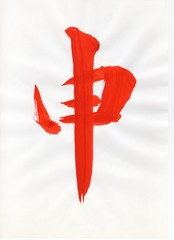 申(english:monkey japanese:saru) 日本漢字(japanese kanji) 赤色(red) 毛筆 直筆 年賀状用