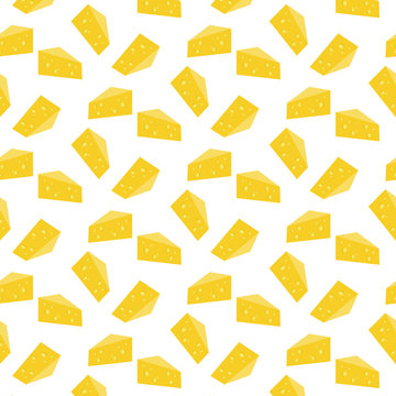 Pattern background with pieces of cheese seamless