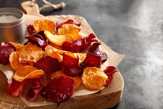 Crisp crunchy organic vegetable chips