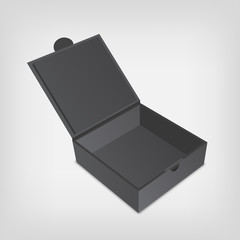 Open gray packaging design box mockup. Gray squared shape.