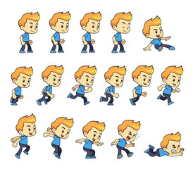 Blue Shirt Boy Game Sprites