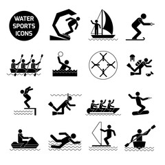 Water Sports Icons Black