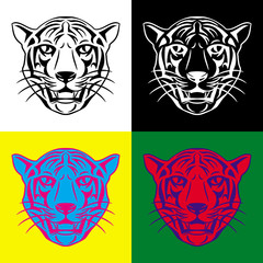 Tiger head tattoo 4 color