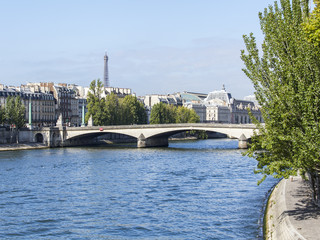PARIS, FRANCE, on AUGUST 30, 2015. A view of Skyline on Seine Embankment