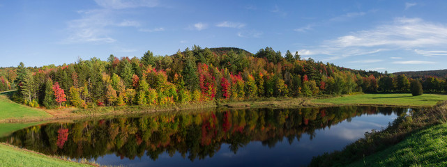 Reflections on pond fall foliage panorama