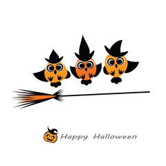 Halloween vector illustration - Owl Witches in hats flying on broom. Cute Halloween owlets flat silhouettes for your design. Halloween card template. Eps 10. Isolated on white.