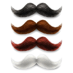 Fake moustaches color set