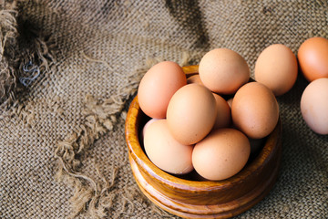 Raw egg put on old sack