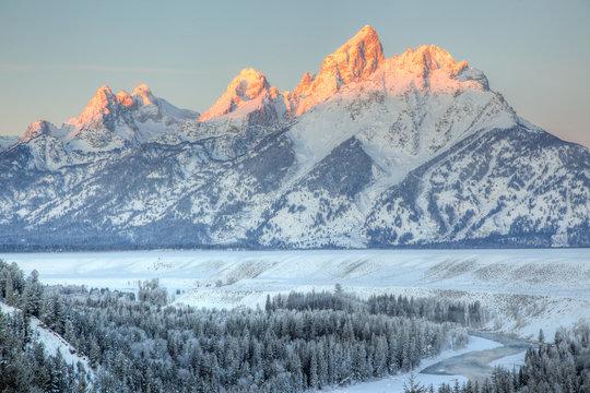 Snowy Winter Dawn on the Teton Range, Grand Teton National Park