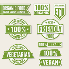 Set of bright green labels and logo. Natural, eco or bio