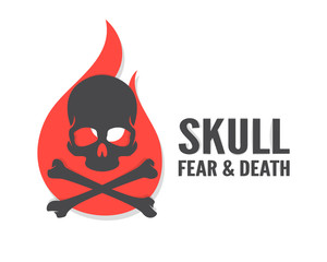Vector skull with flame logo or icon