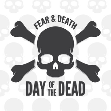 Day of the dead print. Skull and bones logo or icon
