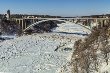 Rainbow Bridge with the river frozen over, taken from the US side.