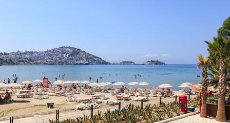 Beach in Kusadasi on the Aegean Sea in Turkey.