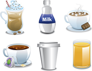 Illustration of six different coffee and breakfast beverages.