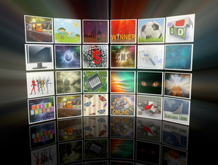 3d render of collection of images, forming video wall display.