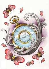 tattoo illustration butterfly clok