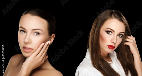 Comparison Portraits Beautiful Girl With Hands At Face With And