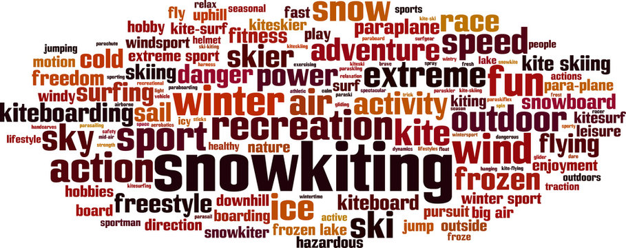 Snowkiting word cloud concept. Vector illustration