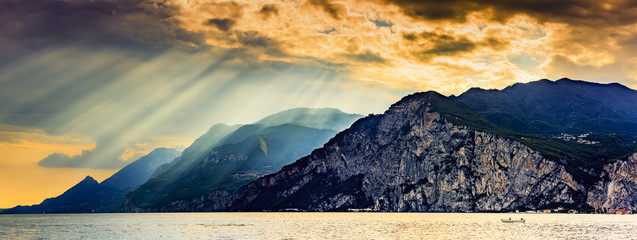 Lake Garda (Lago di Garda) Italy - sunset Wall mural