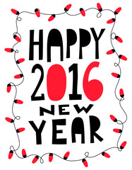 Happy 2016 new year card with garland