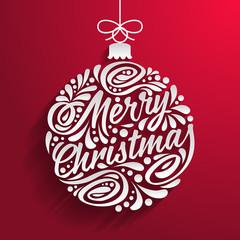Holidays greeting card with abstract doodle Christmas ball. Merry christmas