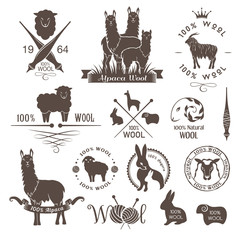 Wool labels, signs and design elements. Logo set of sheep, alpaca, rabbit and goat wool. Stickers and emblems for 100% natural wool products.