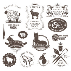 Wool labels and elements. Logo set of sheep, alpaca, rabbit and goat wool. Stickers and emblems for 100% natural wool products.
