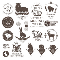 Wool design elements. Labels set of sheep, alpaca, rabbit and goat wool. Logos and emblems for 100% natural wool products.