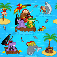 Wall Murals Mermaid seamless pattern with animals pirates - vector illustration, eps