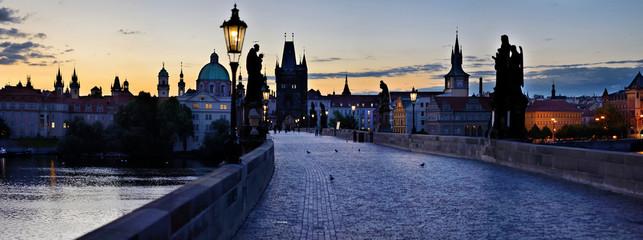 Foto op Aluminium Praag Charles Bridge in Prague -Stitched Panorama