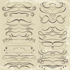 Vintage Set of calligraphic elements for design. Decorative