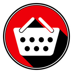 red information icon - white shopping basket