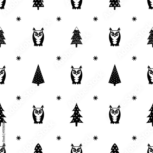 """Winter pattern - varied Xmas trees, owls and snowflakes ..."