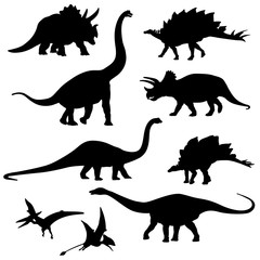 Set of the Dinosaur Silhouette - Vector Image