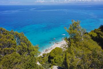 Amazing view of Kokkinos Vrachos Beach, Lefkada, Ionian Islands, Greece