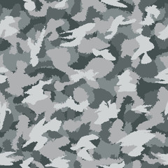 War grey urban camouflage seamless vector pattern. Can be used for wallpaper, pattern fills, web page background, surface textures. Vector illustration