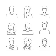 Casual people faces profile avatar vector icons