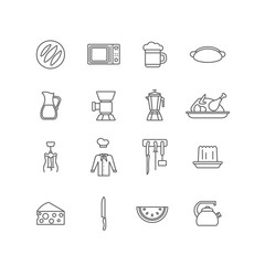 Kitchen stuff kitchenware cooking food lineart vector icons